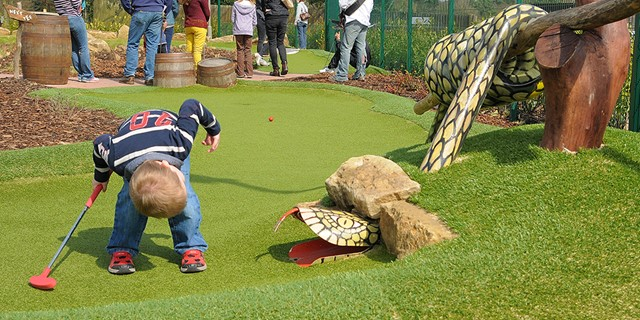 Young boy looking for his ball in the adventure golf snake