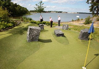Stones as obstacles at adventure golf course