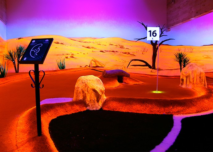 Hot desert blacklight adventure golf