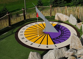 colorful cutting in the adventure golf grass