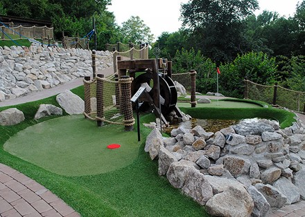 Water wheel adventure golf obstacle
