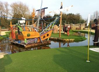 Boat raft at adventure golf