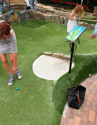 Deep bunkers at the adventure golf
