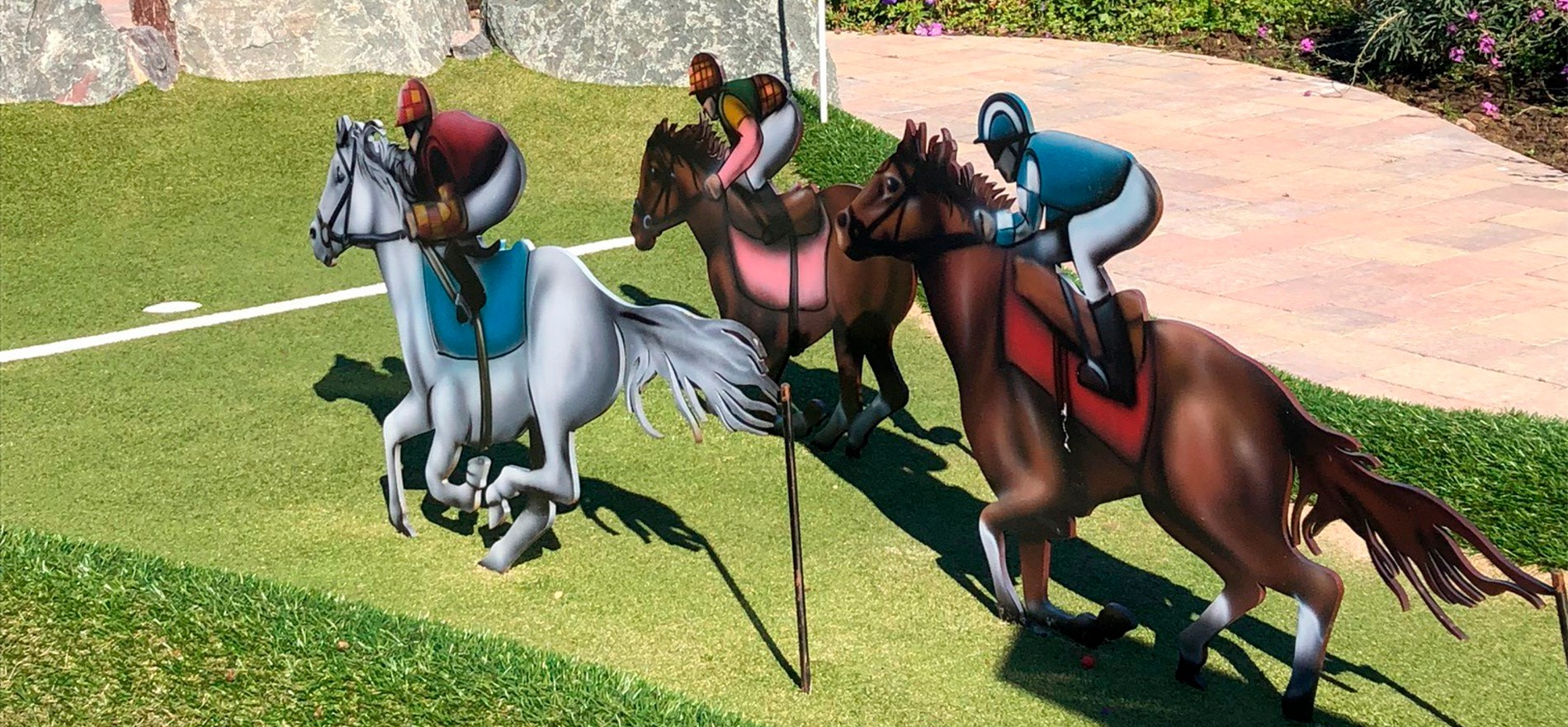"Horse race at ""Galloping Mini Golf"""
