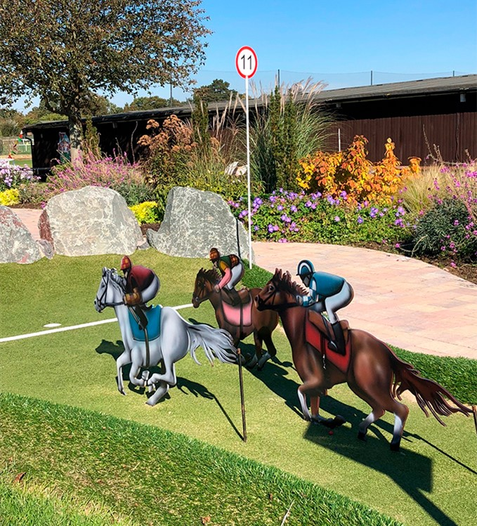 Race to the finishline at the 11th adventure golf hole