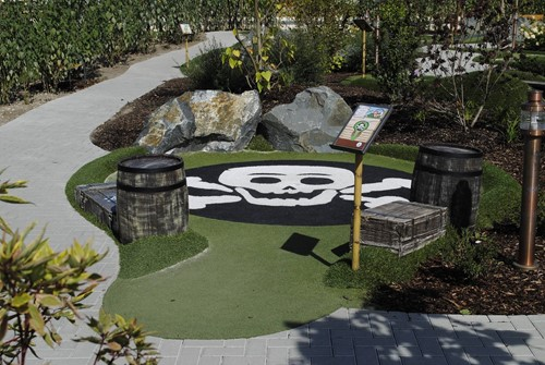 Adventure Golf scull in grass